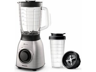 Philips Standmixer HR3556/00 Viva Collection, 700 W, 27.000 u/min, 1,5 l Glasbehälter, Trinkflasche, Edelstahl, silber, spülmaschinenfest, ,