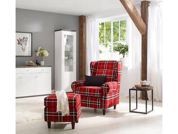 Home affaire Ohrensessel inklusive Hocker in Karostoff oder Luxusmicrofaser Vintageoptik »Eric«, rot, FSC®-zertifiziert