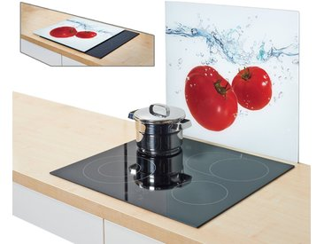Herdblende-/Abdeck-Platte , weiß, »Tomato Splash«, Zeller Present