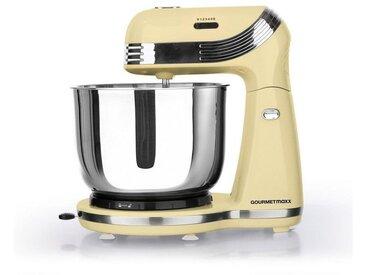 Küchenmaschine Retro vanille mit Edelstahlschüssel, gelb, GOURMETmaxx