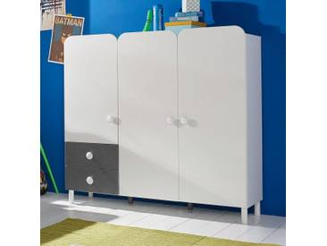 PACK´S Jugendzimmerschrank »Filipo« weiß, Breite 140cm, 3-türig, mit Schubkästen, rauch