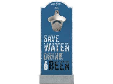 Wand-Flaschenöffner, blau, »Save Water«, Contento