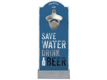 Wand-Flaschenöffner, blau, robust, »Save Water«, , , Contento