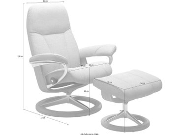 Set: Relaxsessel mit Hocker mit Signature Base, grau, »Consul«, inklusive Relaxfunktion, Stressless®