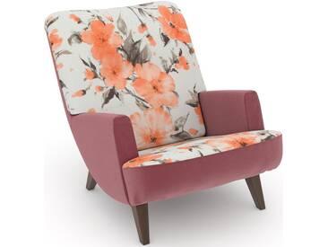 build-a-chair Loungesessel rosa, Füße: Nussbaumfarben, Korpus: Samtvelours rosé, »Borano«, FSC®-zertifiziert, Max Winzer®