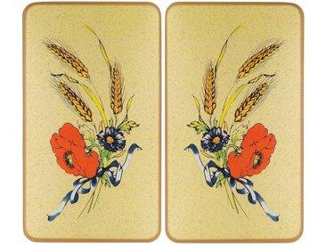 WENKO Herdabdeckplatte »Kornblumen«, beige