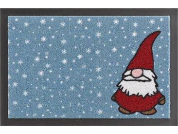 Fussabstreifer »Weihnachtswichtel«, blau, eckig, 40x60cm, strapazierfähig, HANSE Home