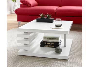 TECNOS moderner Couchtisch, weiß, pflegeleichte Oberfläche, Hochglanz, FSC®-zertifiziert