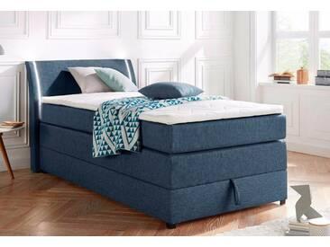 Boxspringbett mit Bettkasten und LED-Beleuchtung, blau, 100x200cm, Härtegrad 2, , , Härtegrad 2, Breckle