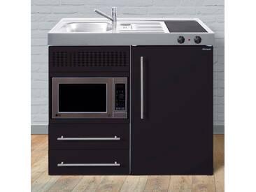 Miniküche aus Metall in der Farbe Schwarz Matt »MPM 100«, schwarz, Energieeffizienzklasse: A, Stengel