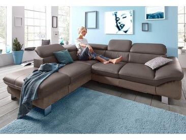 COTTA Eck-Sofa, braun, 268cm, Ottomane links, FSC®-zertifiziert