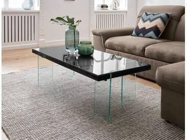 INOSIGN Moderner Couchtisch mit Glasgestell, schwarz, rechteckig, pflegeleichte Oberfläche, FSC®-zertifiziert