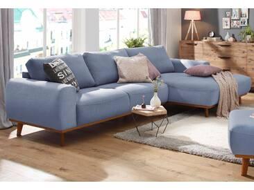 Home affaire Ecksofa mit Holzrahmen »Gabrielle«, blau, Recamiere rechts, FSC®-zertifiziert