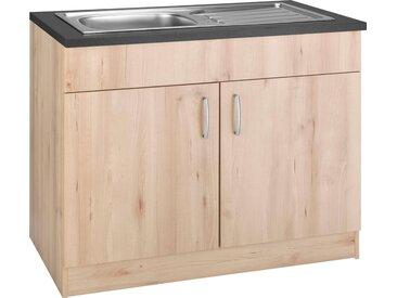 WIHO Küchen Spülenschrank »Brilon«, beige, edelbuchefarben, wiho Küchen