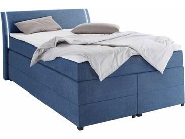 Boxspringbett mit Bettkasten und LED-Beleuchtung, blau, 140x200cm, Härtegrad 2, , , Härtegrad 2, Breckle