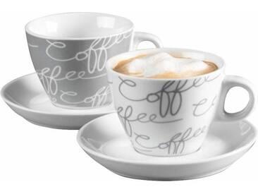 Cappuccinotasse , weiß, Cappuccino-Set, 4-teilig, »Cornello Grey«, spülmaschinengeeignet, Ritzenhoff & Breker