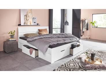 PACK´S Möbelwerke Stauraumbett , weiß, 140x200cm, »Flexx«, mit Schubkästen, rauch