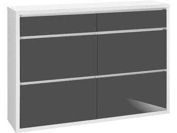 HMW Schuhschrank, , , Breite 133,5 cm, mit griffloser Optik »Spazio«, grau, FSC-Zertifikat, , , Hochglanz-Fronten, FSC®-zertifiziert