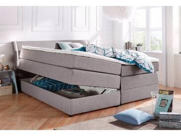 Boxspringbett mit Bettkasten und LED-Beleuchtung, grau, 160x200cm, Härtegrad 2, , , Härtegrad 2, Breckle