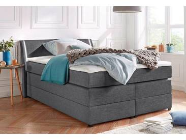 Boxspringbett mit Bettkasten und LED-Beleuchtung, grau, 140x200cm, Härtegrad 2, , , Härtegrad 2, Breckle