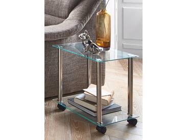 Beistelltisch in moderner Glasoptik, silber, pflegeleichte Oberfläche, HAKU