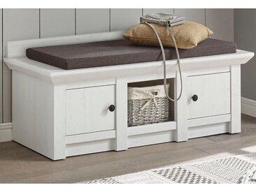 Home affaire Garderobenbank , weiß, FSC-Zertifikat, » inklusive Sitzkissen, 124 cm breit«, , , FSC®-zertifiziert