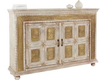 Sideboard von Hand mit Messing beschlagen weiß, einfache Montage, heine home