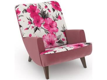 build-a-chair Loungesessel »Borano« rosa, Füße: Nussbaumfarben, Korpus: Samtvelours rosé, FSC®-zertifiziert, Max Winzer®