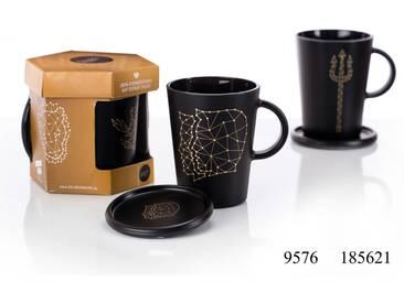 Kaffeebecher mit Untersetzer Zwilling - Glas-Kaffeebecher mit Untersetzer Sternzeichen