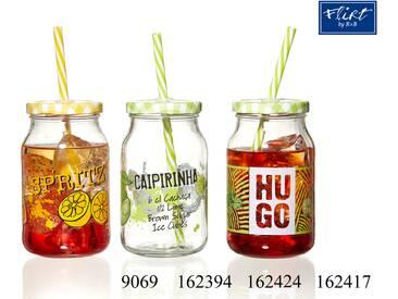 Glas mit Deckel und Strohhalm Caipirinha - Gläser mit Deckel und Strohhalm Cocktail