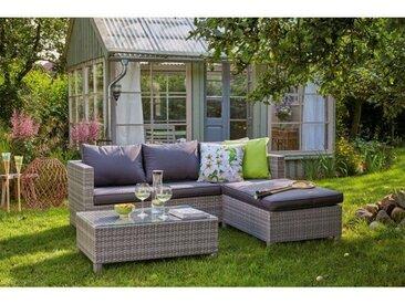 OUTDOOR Lounge Gartensofa LINA 3-teilig Geflecht grau