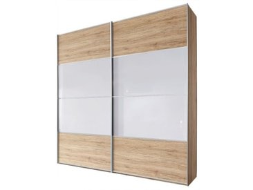 CASAVANTI Kleiderschrank JUWEL 280 x 223 68 cm Nachbildung Eiche/Farbglas seidengrau