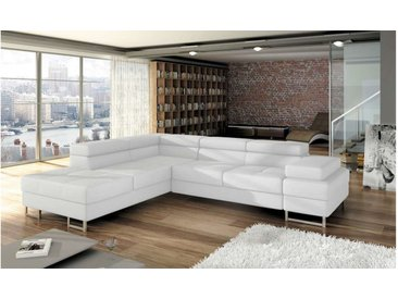 Stylefy TUNIS Ecksofa Kunstleder 223x275x70/90 Weiß