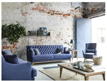 chesterfield sofa couch polstergarnitur blau braun 3 3 1 paris