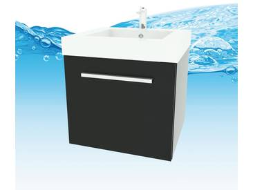Waschtisch mit Waschbecken, Unterschrank city 100 50cm Esche schwarz