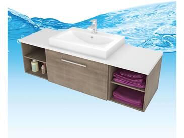 Waschtisch mit Waschbecken, Unterschrank City 302 160cm Eiche hell