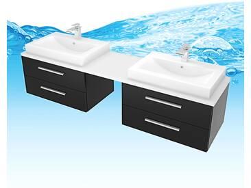 Waschtisch mit Waschbecken, Unterschrank City 207 200cm Esche schwarz