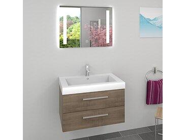 Waschtisch Waschbecken Leuchtspiegel BSP09 Unterschrank City 101...