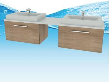 Waschtisch mit Waschbecken, Unterschrank City 206 200cm Eiche hell