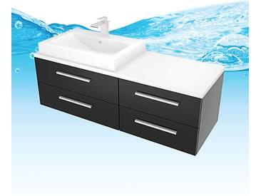 Waschtisch mit Waschbecken, Unterschrank City 210 140cm Esche schwarz