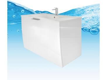 Waschtisch mit Waschbecken, Unterschrank Gently 1 80cm Hochglanz weiß