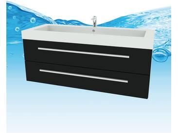 Waschtisch mit Waschbecken, Unterschrank City 101 120cm Esche schwarz