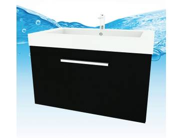 Waschtisch mit Waschbecken, Unterschrank City 100 80cm Esche schwarz