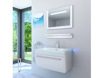 Badmöbel Set Gently 3 V1 Hochglanz Weiß, Badezimmermöbel, Waschtisch 80cm