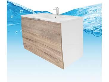 Waschtisch mit Waschbecken, Unterschrank Gently 1 80cm weiß / Eiche...