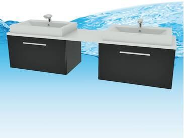 Waschtisch mit Waschbecken, Unterschrank City 206 200cm Esche schwarz