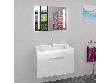 Waschtisch Waschbecken Leuchtspiegel BSP09 Unterschrank City 100 80cm Eiche hell