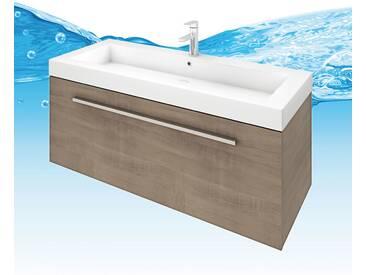 Waschtisch mit Waschbecken, Unterschrank City 100 120cm Eiche hell