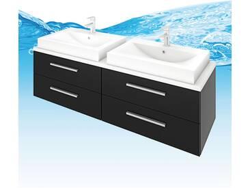 Waschtisch mit Waschbecken, Unterschrank City 201 160cm Esche schwarz