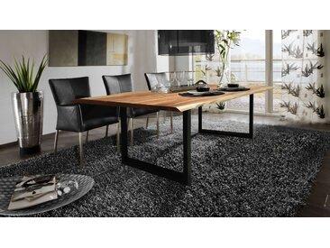 Esstisch Baumkante massiv Akazie natur 200 x 100 schwarz